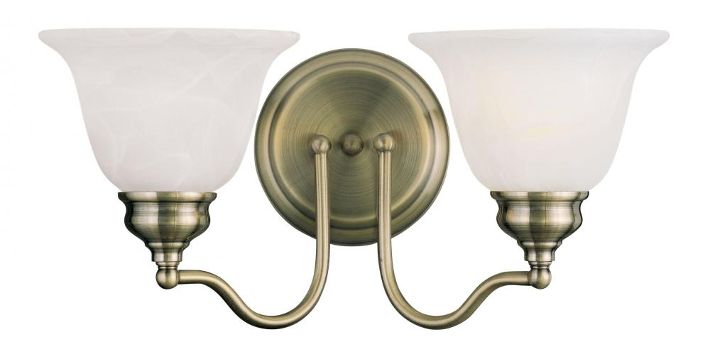 Lighting Solutions in Ringoes, New Jersey, United States,  1352-01, 2 Light Antique Brass Bath Light, Essex