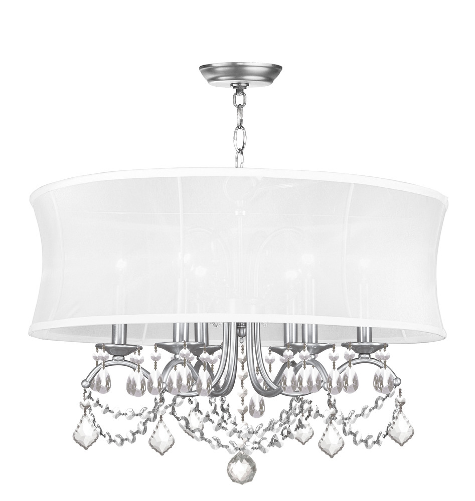 6 light brushed nickel chandelier 6306 91 lighting solutions 6 light brushed nickel chandelier arubaitofo Choice Image