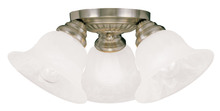 Livex Lighting 1529-01 - 3 Light Antique Brass Ceiling Mount