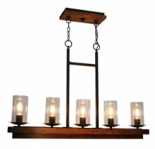 Artcraft AC10145BU - Legno Rustico 5 Light  Brunito Island Light