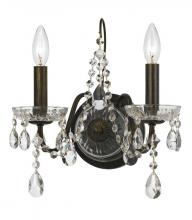 Crystorama 3022-EB - Crystorama Traditional Crystal 2 Light Clear Crystal English Bronze Sconce