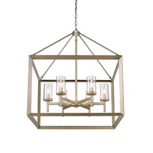 Golden 2073-6 WG-CLR - 6 Light Chandelier (White Gold & Clear Glass)