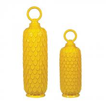 Sterling Industries 152-004/S2 - Lidded Ceramic Jars In Sunshine Yellow - Set of 2