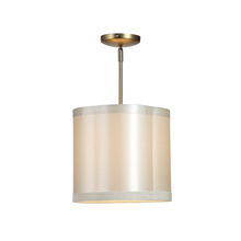 Steven & Chris SC571 - One Light Antique Brass Scalloped Silk Shade Drum Shade Semi-Flush Mount
