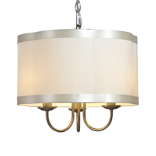 Steven & Chris SC573 - Three Light Antique Brass Scalloped Silk Shade Drum Shade Mini Chandelier