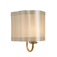 Steven & Chris SC577 - One Light Antique Brass Scalloped Silk Shade Wall Light
