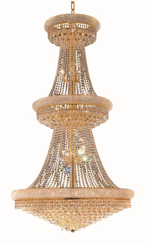 1800 Primo Collection Chandelier D:42in H:72in Lt:38 Gold Finish (Elegant Cut Crystals)