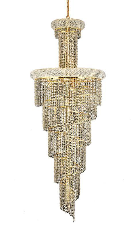 1800 Spiral Collection Chandelier D:21in H:60in Lt:22 Gold Finish (Elegant Cut Crystals)