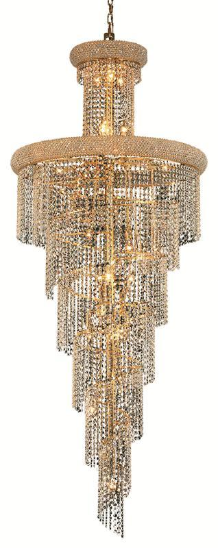 1800 Spiral Collection Chandelier D:30in H:72in Lt:28 Gold Finish (Elegant Cut Crystals)