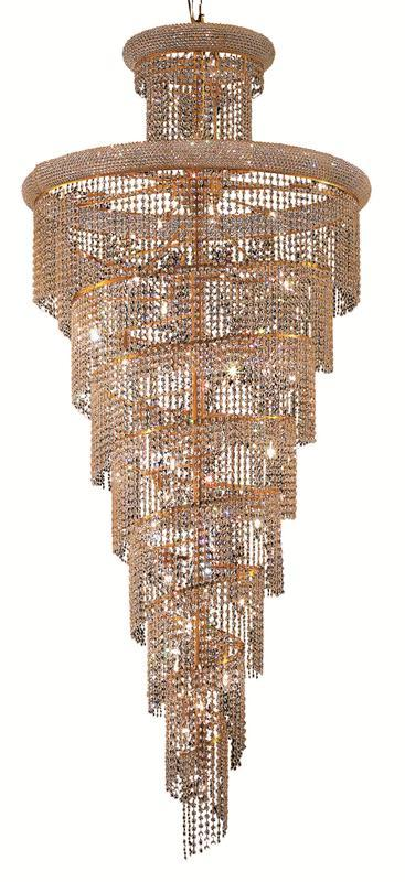 1800 Spiral Collection Chandelier D:36in H:86in Lt:32 Gold Finish (Elegant Cut Crystals)