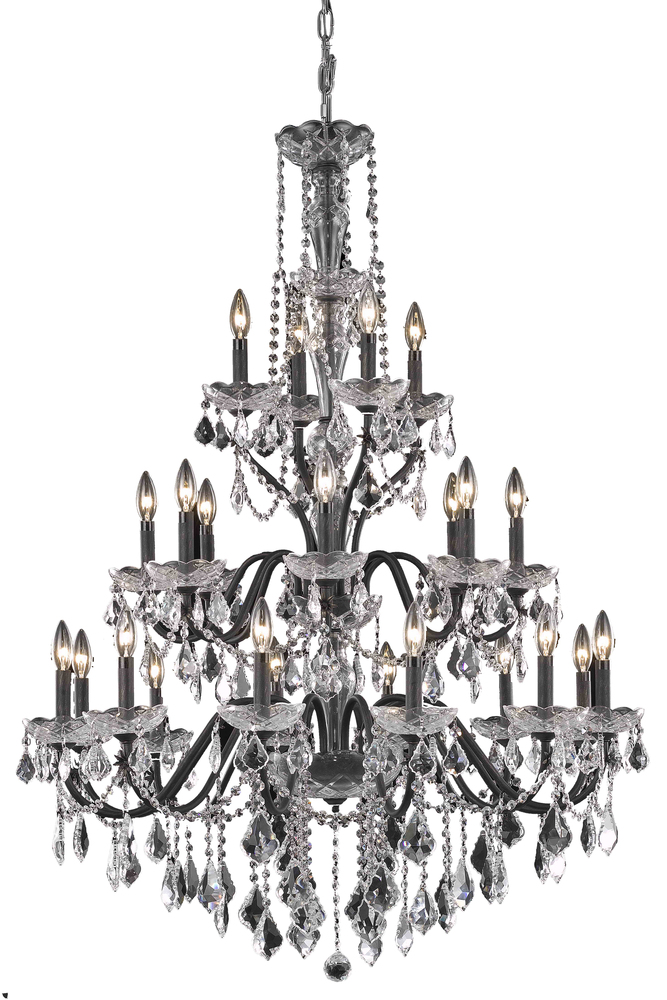 2015 St. Francis Collection Chandelier D:36in H:49in Lt:24 Dark Bronze Finish (Royal Cut Crystals)
