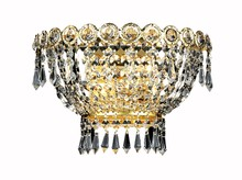Elegant V1900W12G/RC - 1900 Century Collection Wall Sconce D:12in H:6in E:7.5in Lt:2 Gold Finish (Royal Cut Crystals)