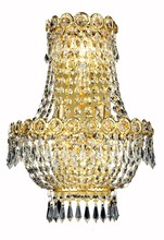 Elegant V1900W12SG/RC - 1900 Century Collection Wall Sconce D:12in H:17in E:7.5in Lt:3 Gold Finish (Royal Cut Crystals)