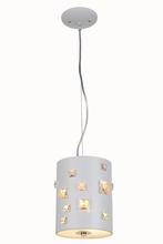 "Elegant 2058D7WH/RC - 2058 Candice Collection Pendant lamp D:7"" H:9"" Lt:2 White Finish (Royal Cut Crystals)"