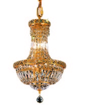 Elegant V2528D12G/RC - 2528 Tranquil Collection Pendant D:12in H:16in Lt:6 Gold Finish (Royal Cut Crystals)