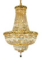 Elegant V2528D22G/RC - 2528 Tranquil Collection Chandelier D:22in H:31in Lt:22 Gold Finish (Royal Cut Crystals)