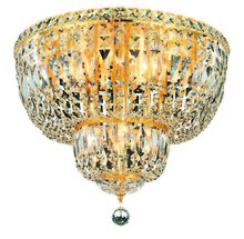 Elegant V2528F20G/RC - 2528 Tranquil Collection Flush Mount D:20in H:16in Lt:10 Gold Finish (Royal Cut Crystals)