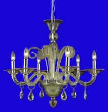 Elegant 7866D29YW/RC - 7866 Muse Collection Hanging Fixture D29in H23.5in Lt:6 Yellow Finish (Royal Cut Golden Shadow Cryst