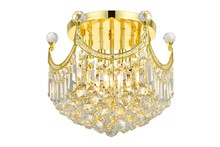 Elegant V8949F16G/RC - 8949 Corona Collection Flush Mount D:16in H:15in Lt:6 Gold Finish (Royal Cut Crystals)