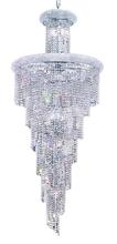 Elegant V1800SR30C/RC - 1800 Spiral Collection Chandelier D:30in H:72in Lt:28 Chrome Finish (Royal Cut Crystals)