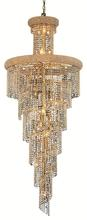 Elegant V1800SR30G/RC - 1800 Spiral Collection Chandelier D:30in H:72in Lt:28 Gold Finish (Royal Cut Crystals)