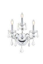 Elegant V2015W3C/EC - 2015 St. Francis Collection Wall Sconce D:13in H:17in E:8in Lt:3 Chrome Finish (Elegant Cut Crystals