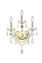 Elegant V2015W3G/EC - 2015 St. Francis Collection Wall Sconce D:13in H:17in E:8in Lt:3 Gold Finish (Elegant Cut Crystals)