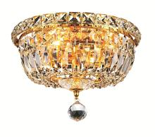 Elegant V2528F10G/EC - 2528 Tranquil Collection Flush Mount D:10in H:8in Lt:4 Gold Finish (Elegant Cut Crystals)