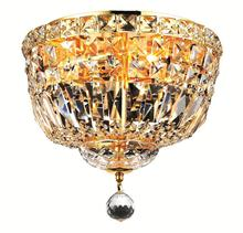 Elegant V2528F12G/RC - 2528 Tranquil Collection Flush Mount D:12in H:9in Lt:4 Gold Finish (Royal Cut Crystals)