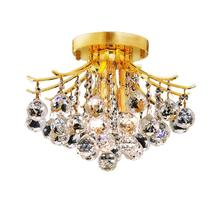 Elegant V8000F12G/RC - 8000 Toureg Collection Flush Mount D:12in H:12in Lt:3 Gold Finish (Royal Cut Crystals)