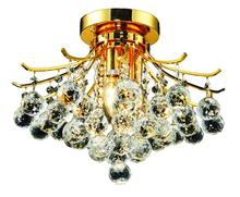 Elegant V8000F16G/RC - 8000 Toureg Collection Flush Mount D:16in H:12in Lt:3 Gold Finish (Royal Cut Crystals)
