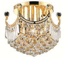 Elegant V8949F16G/EC - 8949 Corona Collection Flush Mount D:16in H:15in Lt:6 Gold Finish (Elegant Cut Crystals)