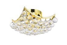 Elegant V9800F12G/SA - 9800 Corona Collection Flush Mount L:12in W:12in H:7in Lt:4 Gold Finish (Spectra� Swarovski� Crystal