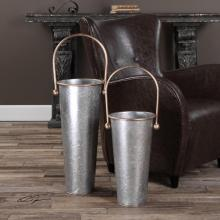 Uttermost 20181 - Uttermost Ortensia Galvanized Flower Buckets Set/2