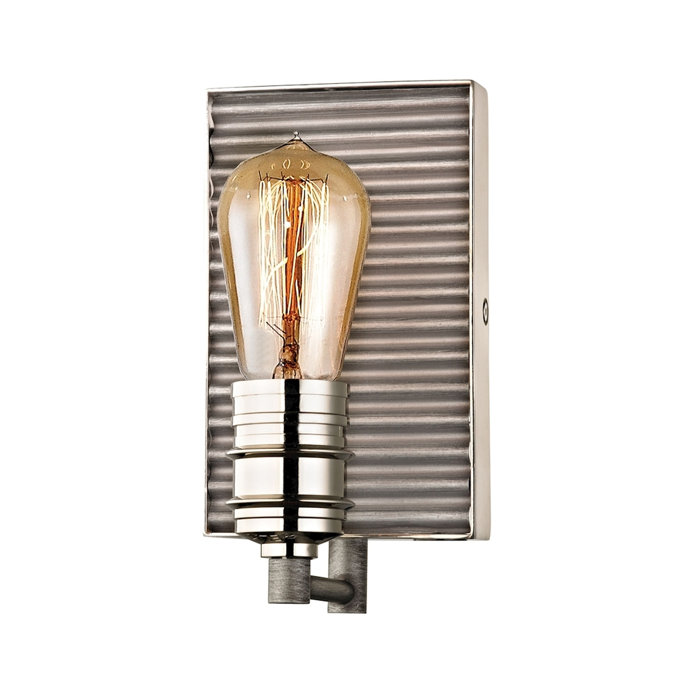 Lighting Solutions in Ringoes, New Jersey, United States,  15920/1, Corrugated Steel 1 Light Vanity In Weathered Zin, Corrugated Steel