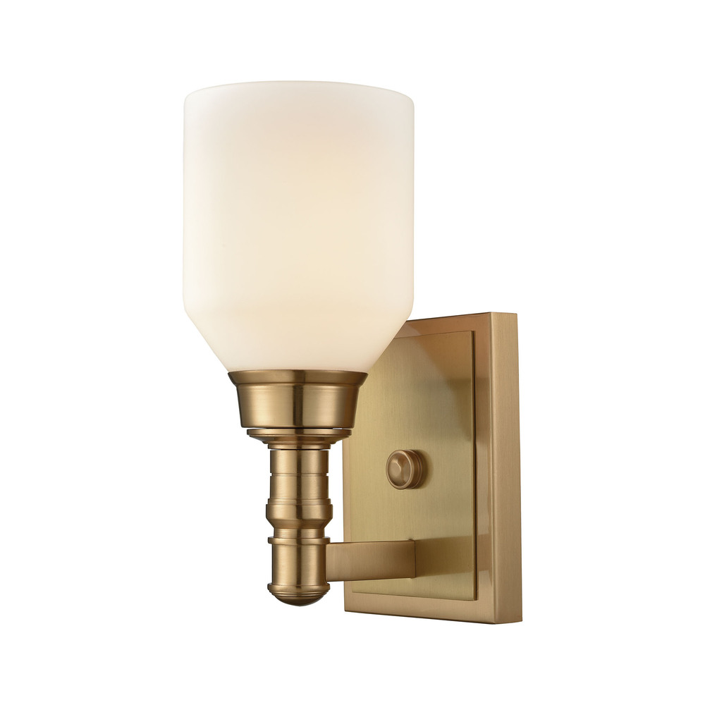 Baxter 1 Light Vanity In Satin Brass With Opal W