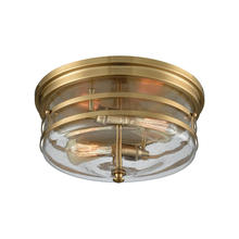 ELK Lighting 11325/2 - Port O Connor 2-Light Flush Mount in Satin Brass with Clear Seedy Glass