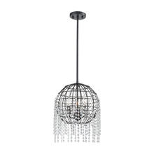 ELK Lighting 15304/3 - Yardley 3-Light Pendant in Oil Rubbed Bronze with Wire Cage and Clear Crystal